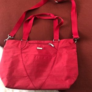 Baggallini red crossbody tote travel nylon bag